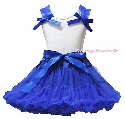 Plain 4th July White Cotton Top Royal Blue Girl Skirt Clothing Outfit Set 1-8Y