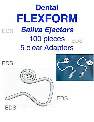 Dental FLEXFORM hygoformic Saliva Ejectors White 100 pcs with 5 clear adapters
