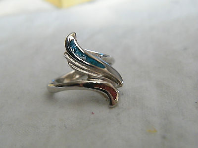 Beautiful Silver Tone Cocktail Ring Turquoise Coral Insets Signed Size 5.75