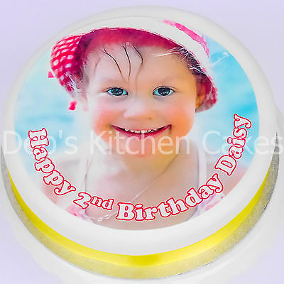 "Your Own Personalised Photo + Message Cake Topper Edible Icing 7.5""/19cm Round"