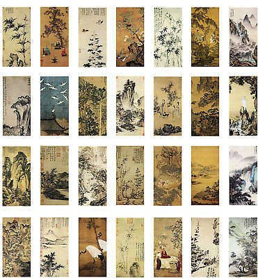 Ancient Chinese Silk Paintings Collage Sheet Domino Size Jewelry Decoupage Craft