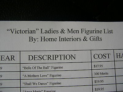 Home Interiors & Gifts Victorian Ladies & Men Figurine Collection Reference List
