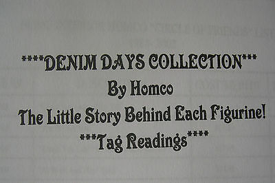 Home Interiors & Gifts Homco Denim Days Figurines Collection Tag Readings