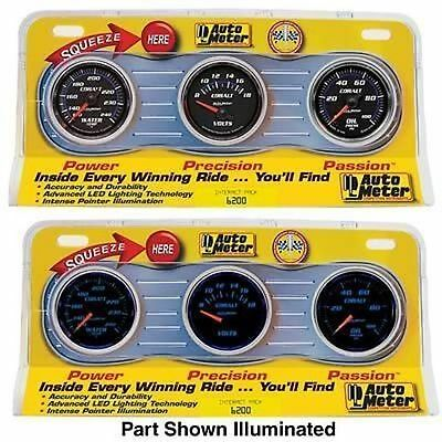 "Autometer Cobalt 2-1/16"" 3 Gauge Kit Oil Pressure,water Temp,voltmeter Au6200"