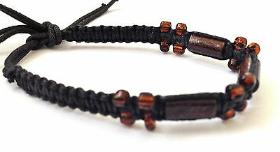 Ethnic Wood Glass Bead Bracelet Mens Boys Girls Wristbands  B0453