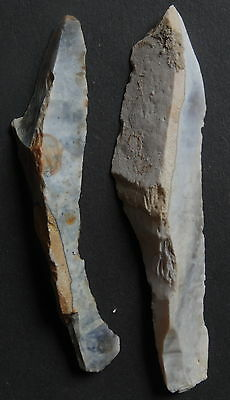 "2 MICROLITHE BLADE/DRILL FLINT""Paris Basin""MESOLITHIC/NEOLITHIC/FRENCH PREHISTOR"