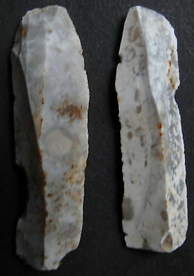 "2 MICROLITHE BLADE SCRAPER FLINT""Paris Basin""MESOLITHIC/NEOLITHIC/FRENCH PREHIST"