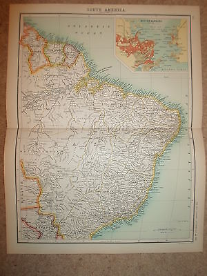 c1900 Map SOUTH AMERICA - SECTION 2 - J Bartholomew  XXth Century Citizens Atlas