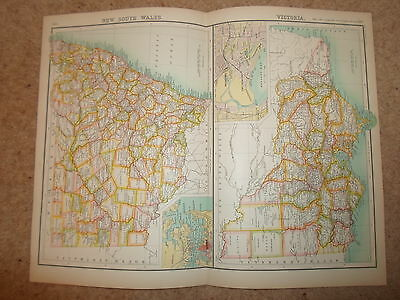 c1900 Map NEW SOUTH WALES + VICTORIA ~ J Bartholomew XXth Century Citizens Atlas