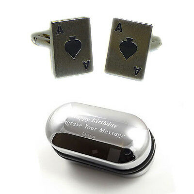 Ace of Spades Playing Card Casino & Gambling Cufflinks - with Engraved Gift Box