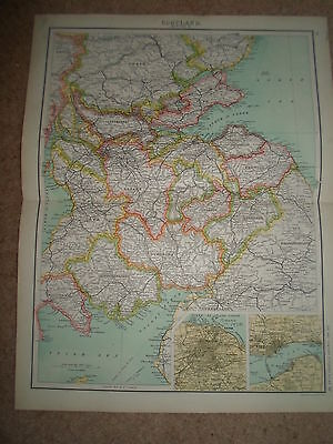 c1900 Map ~ SCOTLAND SECTION 4 ~ J Bartholomew From XXth Century Citizens Atlas