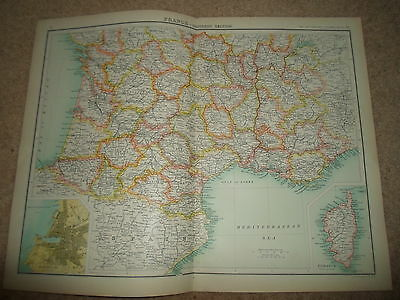c1900 Map ~ FRANCE - SOUTHERN SECTION J Bartholomew XXth Century Citizens Atlas