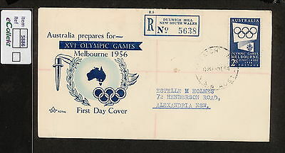 FDC 1954   2/- BLUE OLYMPICS FDC TYPED ADDRESSED Dulwich Hill REGISTERED (5886)
