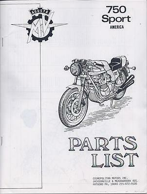 1975 MV Agusta 750 Sport 4 cylinder good PHOTOCOPY illustrated parts list