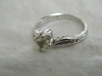 Collectible Silver Tone Cocktail Ring Rhinestones Signed 18KTHGE Size 5.75 CUTE