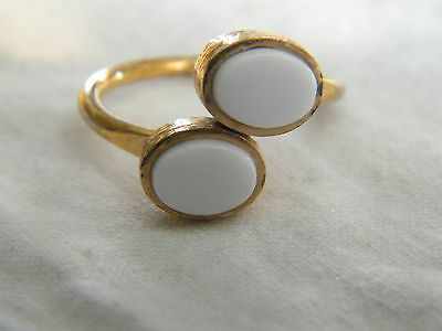 Collectible Gold Tone Cocktail Ring White Cabachons Signed SARAH Size 8.5 CUTE