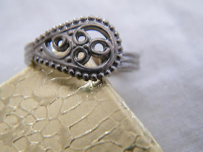 Collectible Silver Tone Ornate Openwork Band Ring Size 5 3/4 UNIQUE