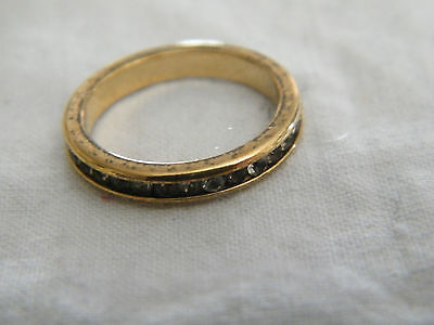 Collectible Gold Tone Band Ring Clear Rhinestones Signed AVON Size 6 CUTE