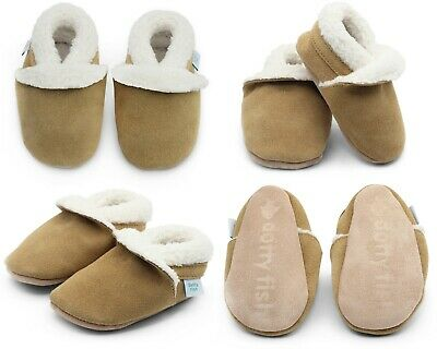 Dotty Fish Soft Suede Baby Slippers with Fleece Lining - Tan - 0-6mths - 3-4yrs