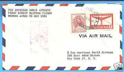 FAM5, #F5-164,  BUENOS AIRES - NEW YORK, 1946 PAN AMERICAN  FIRST FLIGHT COVER