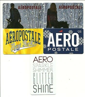 Aeropostale Lot of (5) Gift Cards No $ Value Collectible Aero w/ Christmas