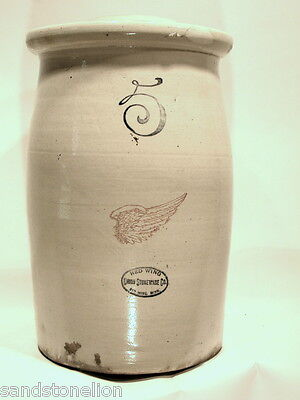 Rare Red Wing Stoneware 5 Gallon Butter Churn Crock with dasher SUPER NICE PIECE