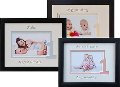 Personalised My First Birthday Photo Frame Gift 9 x 7 Baby Boy, Girl or Twins