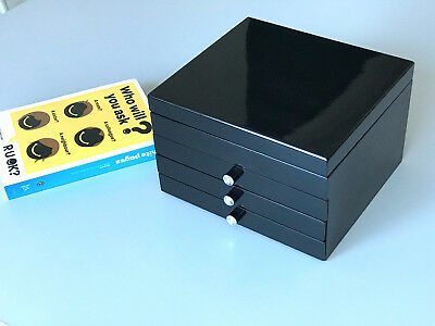 CLEARANCE ! NEW LARGE WOODEN JEWELLERY BOX IN GLOSS FINISH - BLACK 201 BLK 4k