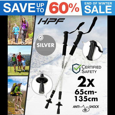 NEW HPF Hiking Trekking Poles Walking Stick Anti Shock Adjustable Camping Silver