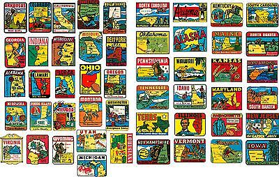 50 State Vintage Style Travel Decals / Vinyl Stickers, Luggage Labels (4 Inch@)