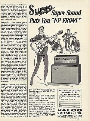 """SUPRO """"Up Front"""" Amplifier Original Vintage Illustrated Mag. AD """"Down Beat"""" 1967"""