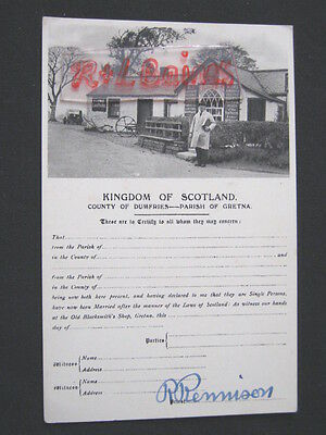 Kingdom of Scotland,  Marriage Certify, Signed by Priest R Rennison, Postcard