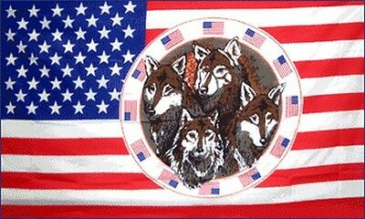 4 Wolves in Ring of Flags 3x5 ft USA US United States America Wolf American Four