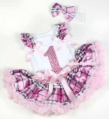 Pink Check Plaid Baby Pettiskirt Birthday Number 1ST Ruffle Bow White Top 3-12M