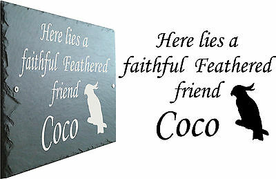 Pet Memorial Slate Sign Plaque - Personalised for your Cockatoo /  Bird