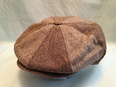 BROWN HERRINGBONE BAKER BOY CAP NEWSBOY PAPERBOY 8-PANEL RETRO 1920's EDWARDIAN