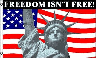 """""""FREEDOM ISN'T FREE"""" American Flag 3x5 ft US USA Statue of Liberty United States"""