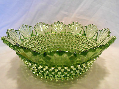 Imperial Glass  10 Inch Green Hobnail Dewdrop Bowl......w 2 Stickers