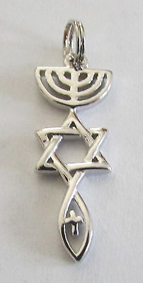 .925 Sterling Silver Messianic Christian  Roots Symbol Necklace Pendant C