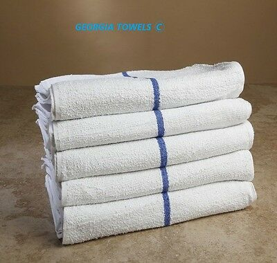 5 DOZEN NEW BLUE STRIPED BAR TOWELS BAR MOPS 100% COTTON 16X19 32oz GA TOWELS
