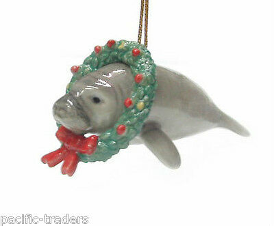 R178 Northern Rose Miniature  -  Christmas Ornament -Manatee with wreath