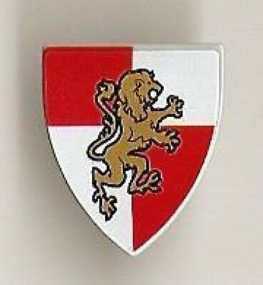 x1 NEW Lego Minifig Shield Ovoid w// Gold Lion on Red and White Quarters