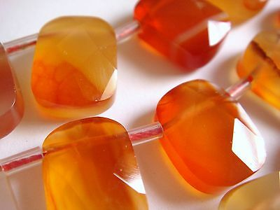 "10x14mm Faceted Briolette Rectangle Shape Carnelian 7""-8"" INCH Stones Beads ^"