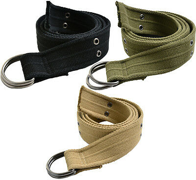 """D Ring Military Pistol Style Belt 1.5"""" Heavy Duty Vintage Army Tactical Grommets"""