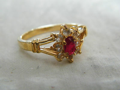Beautiful Gold Tone Cocktail Ring Clear Garnet Rhinestones Size 8 1/2 WOW