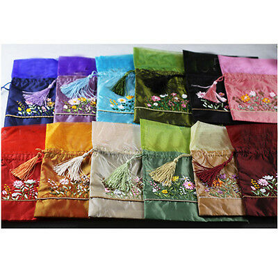 Wholesale10pcs Chinese Handmade Classic Embroidered Silk Purse Pouch Gift Bags