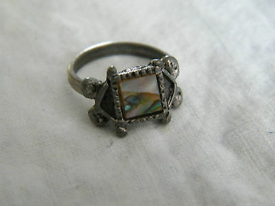 Beautiful Silver Tone Cocktail Ring Abalone Size 5-6 Adjustable NICE