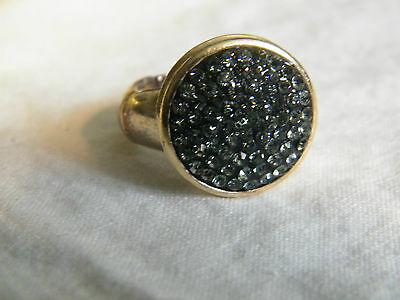 Beautiful Stretch Ring Gold Tone Sparkling Silver Rhinestones Stunning WOW