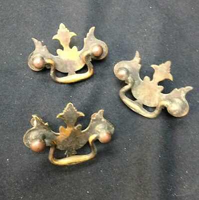 3 VINTAGE ANTIQUE BRASS DRAWER HANDLES Pulls