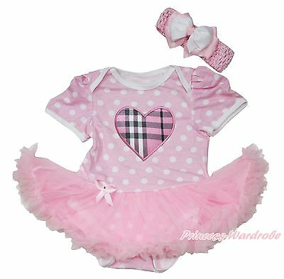 Pink White Dot Baby Dress Romper Pink Plaid Heart Pink Skirt Jumpsuit 0-12Month